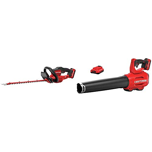Review CRAFTSMAN CMCHTS820D1 V20 22 Cordless Hedge Trimmer with CMCBL720D2 V20 Handheld Blower