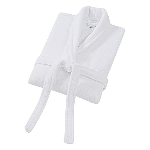 Charisma Luxe Zero Twist Luxury Cotton Bathrobe, Small/Medium, White