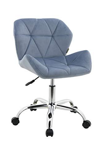 HNNHOME Modern Eris Padded Swivel Fabric Home Office Desk Computer Chair, Height Adjustable (Light Blue, Velvet)