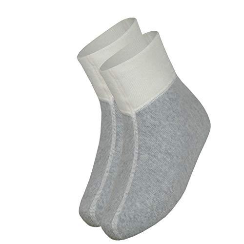 wobera Angora Fußwärmer oder Bettschuhe mit 75% Angora (Gr. 3 (43-46), Farbe: silbergrau mit weißem Bündchen)