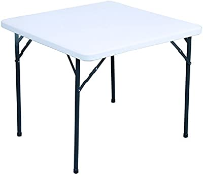 Garcia de pou Table carrée Pliante, 86x 86x 74cm, polyéthylène, crème, 30x 30x 30cm