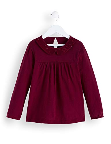 Amazon-Marke: RED WAGON Mädchen Langarmshirt Sequinned Collar Top, Rot (Burgandy), 104, Label:4 Years