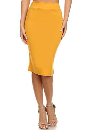 Simlu Women's Below the Knee Pencil Skirt for Office Wear - Made in USA ,Mustard ,X-Large