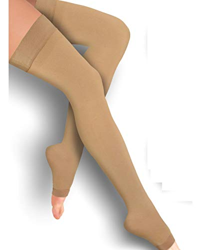 Thigh High Compression Stockings 20-30mmHg Pair with Open-Toe for Men and Women from Lemon Hero - FDA Registered - Best Unisex Leg Support Hose (Large, Beige)
