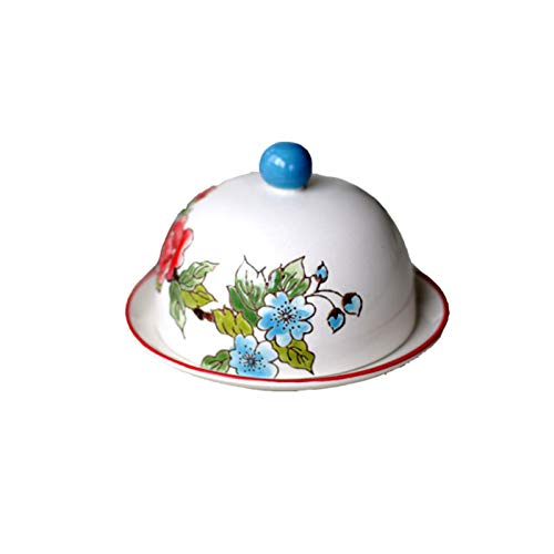 YQX-Butter Dish Butter Holder Hand Painted Ceramic Dustproof Butter with Lid,Blue