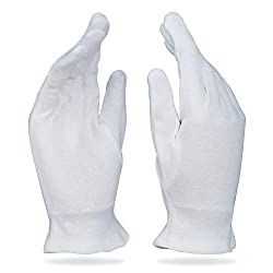 Image of white cotton gloves - one of the more surprising tips to stop your hair from getting greasy too quickly!