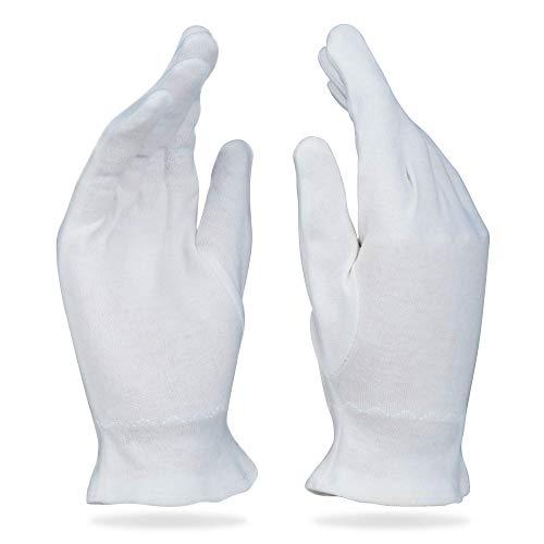 Beauty Care Wear Große weiße Baumwollhandschuhe für Ekzeme, trockene Haut, feuchtigkeitsspendend, 20 Stück