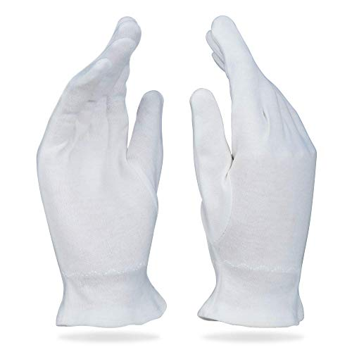 White Cotton Gloves for Dry Hands and Eczema - Overnight Hand Moisturizing & Sleeping Lotion Spa...