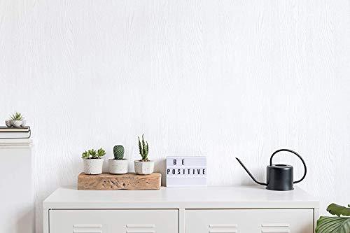 (Blanco nuevo, paquete de 2) Papel tapiz de mural autoadhesivo con veta de madera reciclada y rústica 50cm X 3M (19,6' X 118'), 0,15mm Para revestimiento de restauración de muebles, sala de estar