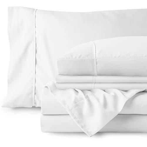 Bare Home - Juego de sábanas de 7 piezas con bolsillo profundo 1800 – ultra suave hipoalergénico – 4 fundas de almohada (Split King, blanco)