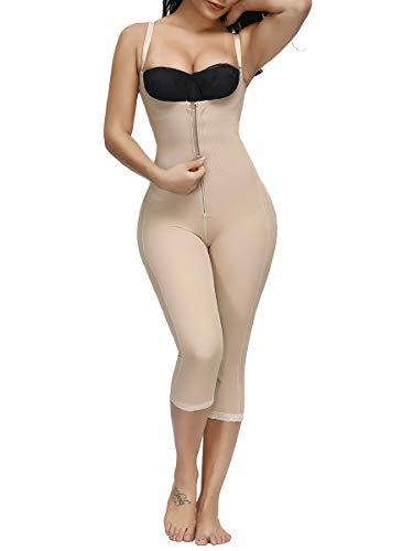 FeelinGirl Mujeres Shapewear de Cuerpo Overbust Faja Adelgazante Arriba de Busto Corset Reductor Lumbar con Ganchos Cremallera Body Shaper Talla Grande Beige Largo S/ES 36-38
