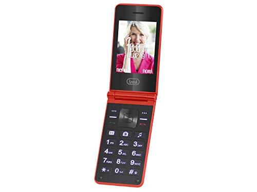 Trevi Flex Plus 75 Senior - Teléfono móvil con Doble Pantalla y función de Concha, Botones Grandes, función de Llamada rápida, Bluetooth, Radio FM, cámara, Color Rojo