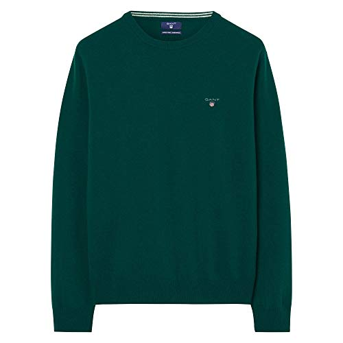 GANT Superfine Lambswool Crew Sweater Felpa, Verde (Tartan Green), X-Large Uomo