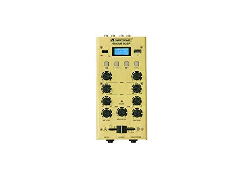OMNITRONIC GNOME-202P Mini-Mixer gold | 2-Kanal-DJ-Mixer mit Bluetooth und MP3-Player im Miniaturformat | Regelbarer Mikrofoneingang/Kopfhörerausgang über 6,3-mm-Klinke