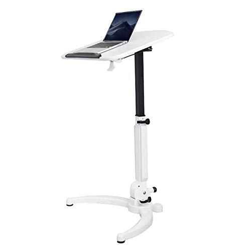 Escritorio plegable Need de acero al carbono con tablero de densidad blanco, altura ajustable, ruedas con cerradura, mesa consola alta plegable para sofá cama, escritorio de pie, escritorio plegable p