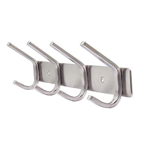 WEBI C-CBG04 Heavy Duty Stainless Steel 304 Hook Rail Coat Rack with 4 Hooks, Satin Finish, Great Home Storage & Organization for Bedroom, Bathroom, Foyers, Hallways