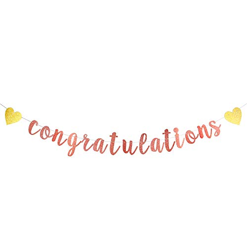Congratulations Banner-Shimmering Rose Gold Letters & Gold Symbol-Hanging Paper Sign Decorations for Graduation, Achievement Party Celebrations, Happy Wedding, Retirement, Bridal Shower, Baby Shower