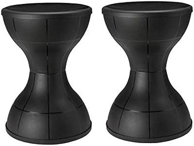 Nilkamal damroo Plastic Stool (STL12) Set of 2 (Black)