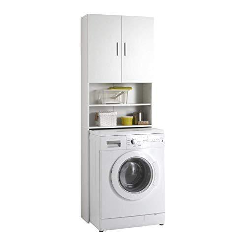 FMD furniture Waschmaschinenschrank und Überbau in Weiß, Badschrank mit 2 Türen und Regal, für Waschmaschine Trockner WC 64 x 26 x 190 cm (B x H x T)