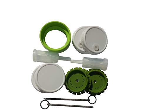 2 Pickle Pusher Small Batch Fermentation Kits. Complete with Airlock and Weight-Replacement. BPA Free. Holds 25X More Than Fermenting Weights. Fits Widemouth Mason Jars Not Included