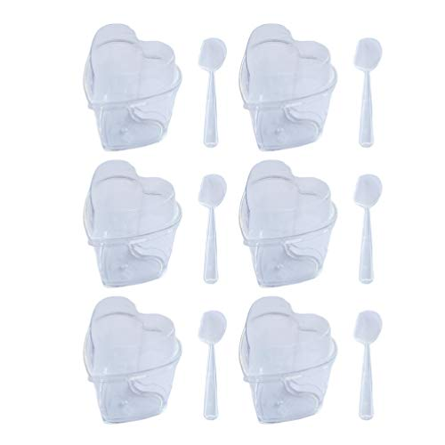 Toyvian 30 Juegos Vasos de Postre de Plástico de Corazón Mini Tazas Desechables Copa para Postre Helado Buffets Pudín Gelatina 150ML con Tapas Cucharas