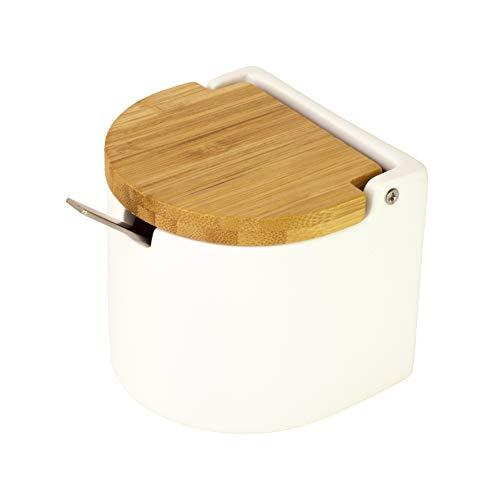 KOOK TIME Keramik Zuckerdose mit Löffel und Deckel aus Bambus -Zuckerlöffel für Haus und Küche, moderne Kugelform, für Zucker, Käse, Gewürze, 9.5 x 9 x 8 cm, Weiß