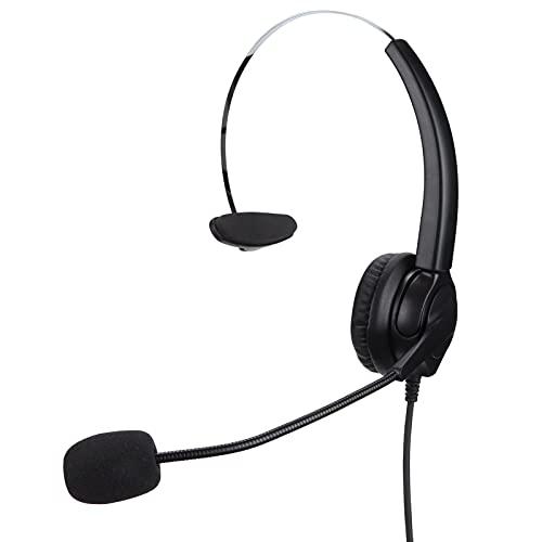 Lazmin112 Auriculares telefónicos, duraderos, omnidireccionales, para oficinas de Negocios, teléfono, Centro de Llamadas, Auriculares con Cable, reducción de Ruido(VH530-RJ9 (Monoaural))