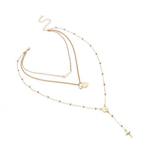 Daesar Collares Mujer Multicapa Virgen María Cruz Estrella Rectangular Cadena Multicapas Collar Chapado en Oro Collar de Mujer Oro