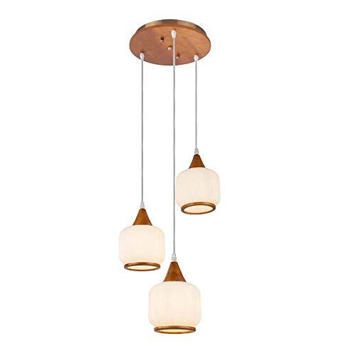 Lámpara de techo de cristal regulable, aspecto de madera, redonda, 3 colgadores ópalos.
