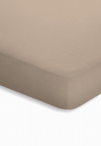 schlafgut Jersey-Elasthan Topper Spannbetttuch, Baumwoll-Mischgewebe, Taupe, 220 x 100 cm
