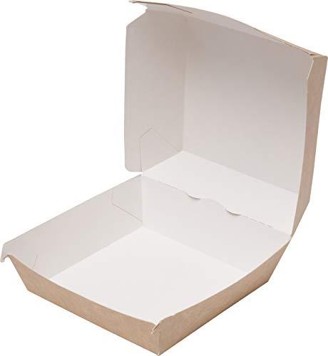 ECOCLEO® Eco Burger Box Take Away Box | Essensbox aus Pappe mit Deckel | To Go Pappbox Verpackung aus Cardboard | Boxen fettbeständig und biologisch abbaubar | 75 Stück | Größe