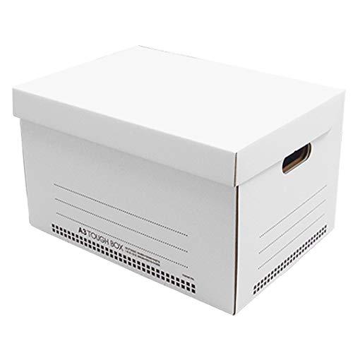 タフボックスL【A3対応】ホワイト 10枚セット (文書保存箱 収納ボックス ダンボールボックス ストレージボックス 段ボール 白)