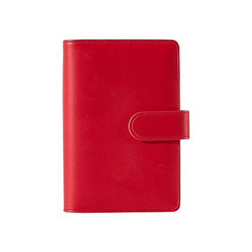 Sooez A6 Notebook Binder, 6 Ring Planner Binder A6 PU Leather Notebook Binder, Loose Leaf Personal Organizer Binder Cover with Magnetic Buckle Closure, PU Leather Portfolio Binder, Red