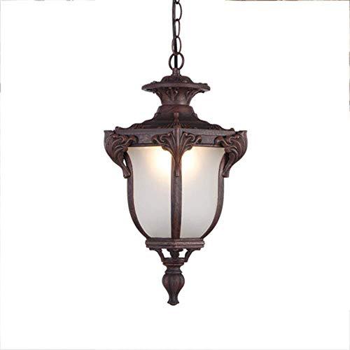 KMMK Novely Chandeliers- Lámpara colgante impermeable Luz exterior Lámpara colgante interior/exterior Lámpara industrial de aluminio de color óxido vintage Lámpara colgante de vidrio blanco E27 Jar