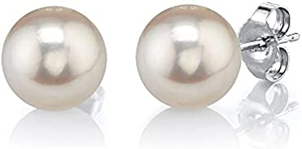 THE PEARL SOURCE 14K Gold 7-8mm Round White Freshwater Cultured Pearl Stud Earrings for Women
