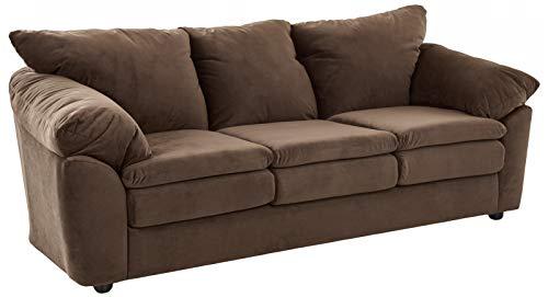 Ravenna Home Darian Oversized Pillow Faux Leather Sofa, 92'W, Black