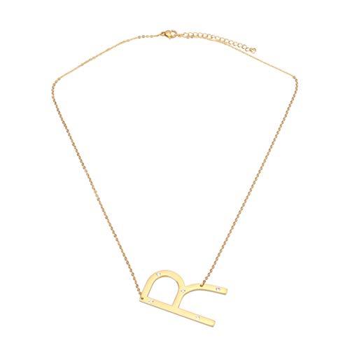 Holibanna Carta Collares de Acero de Titanio Colgante Personalizado joyería Nombre de la Escritura Rhinestone a-z Regalos para Mujeres niña niño r