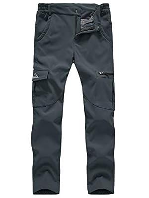 TBMPOY Women's Hiking Cargo Pants Outdoor Waterproof Windproof Softshell Fleece Snow Pants Gray S