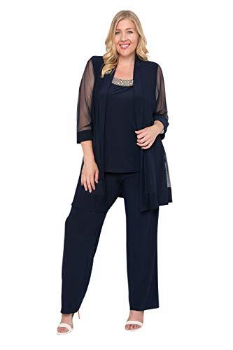 R&M Richards Long Formal Pants Suit Plus Size Dress Navy 18W