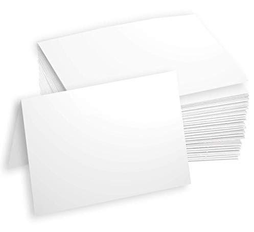 Hamilco White Cardstock Thick Paper - 5 x 7' Blank Folded Cards - Greeting Invitations Stationary - Heavy weight 80 lb Card Stock for Printer - 100 Pack