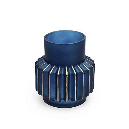 Black Velvet Studio Verre décoratif Vase Couleur Bleu Or Cristal - Vase Vintage Modern Office Accueil Petite Chambre Table rayé Dimensions 20x18x18 Modèle Océan.
