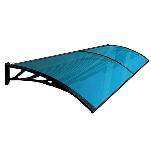 ZEMIN Door Canopy Rain Shelter Awning, Front Door Outdoor Patio Sun Shetter, UV Rain Snow Protection Polycarbonate Cover, Aluminum Bracket (Color : Blue, Size : 60cmx240cm)