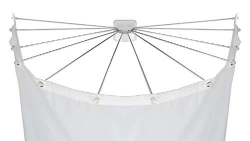 WENKO Duschschirm mit 12 Armen Edelstahl - Duschspinne, Duschvorhanghalter, Kunststoff (ABS), 96 x 10.5 x 72 cm, Weiß