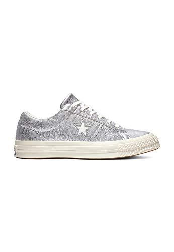 Converse Unisex-Kinder Lifestyle One Star Ox Sneakers, Mehrfarbig (Silver/Egret/Egret 040), 36 EU