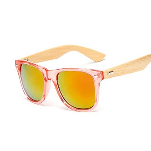 NJJX Gafas De Sol De Bambú Vintage Para Hombre Y Mujer, Gafas De Sol De Madera, Gafas De Sol Cuadradas Retro De Moda Para Hombre, Rojo
