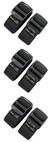 AceCamp 3X Sangle à Bagages Sangle à Bagages Sangle d'emballage Large Sangle Tout Usage Extra Solide, Lot de 3, Triple Pack Noir - 2,5 x 65 cm, 90360