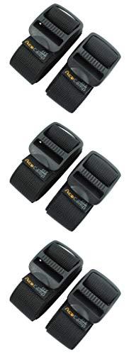 AceCamp 3X Koffergurt Kofferband Packriemen Breit extra stark Allzweckgurt, 3er Set, Dreier-Pack Schwarz - 2.5 x 120cm, 90370