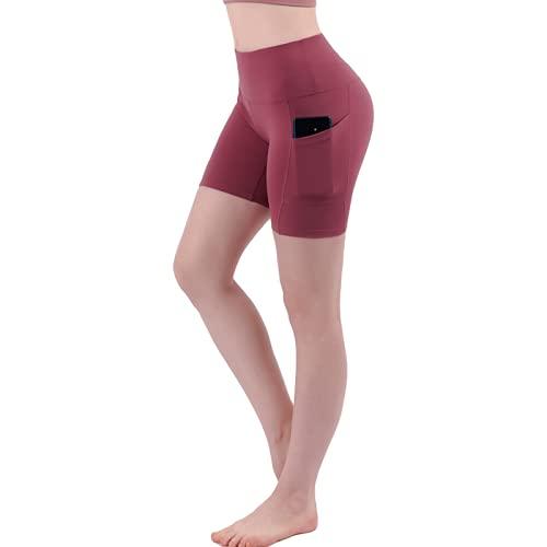 Pantalones Cortos Deportivos con Levantamiento de Cadera de Cintura Alta de Verano para Mujer, Pantalones Ajustados de Cinco Puntos con Bolsillos Medium