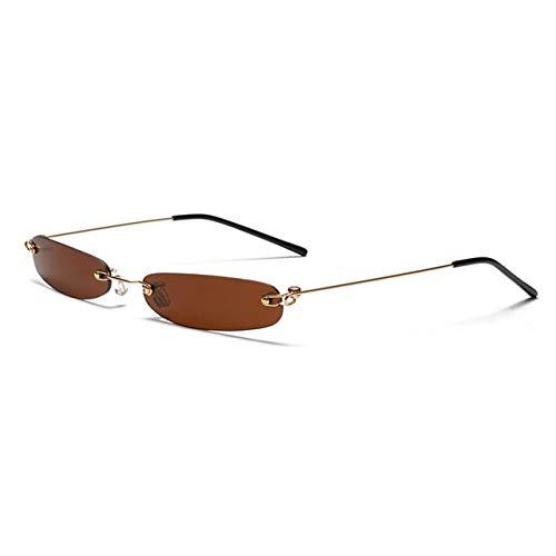 MIRCHEN Smalle Zonnebril Mannen Rimless Zomer Rood Blauw Zwart Rechthoekige Zonnebril voor Vrouwen Klein Gezicht