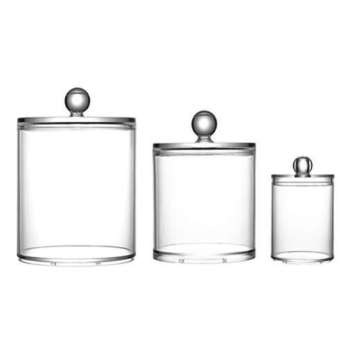 BOQIAN Caja de almacenamiento de plástico transparente a prueba de polvo, caja de almacenamiento con tapa, caja de almacenamiento de viaje para hisopos de algodón y bolas de algodón (3 piezas)